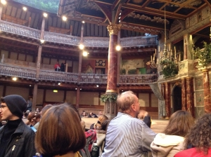 "People wait for ""A Midsummer Night's Dream"" to start at The Globe."