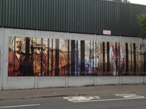 The peace wall that separates Protestant and Catholic neighborhoods in Belfast.