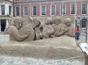 Sand sculptors near Dublin Castle