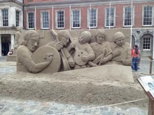 Sand sculptors near Dublin Castle