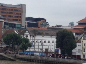 View of the Globe Theater from the Millennium Bridge (white building).