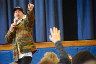 Former BMX pro Tony Hoffman speaks to Perryville Middle School students about drug addiction. (Cecil Whig)
